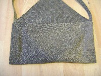 recycled jeans bag folded to sew back