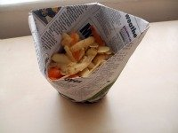 origami cup full of peelings